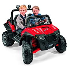 Children will love the all-terrain fun of the Polaris RZR 900 Red! they'll drive around the yard hauling everything imaginable in their sport bed with tie-downs anchors. The 2-speed shifter with reverse allows them to drive at 21/2 or 5 mph o...