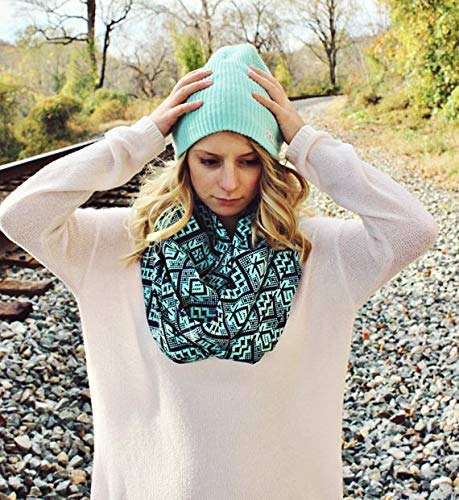 Fresh Mint Tribal Pattern Womens Fashion Infinity Scarf Cotton Teal Green Abstract Loop Scarf