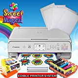 White Edible Printer Bundle for Canon - Comes with Edible Ink Cartridges ,Cleaners & Frosting Sheets -Sweet Star Package
