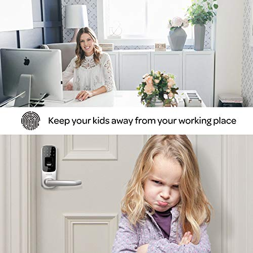 ULTRALOQ UL3 BT Smart Lock (Satin Nickel), 5-in-1 Keyless Entry Door Lock with Bluetooth, Biometric Fingerprint and Touch Digital Keypad, Smart Door Lock Latch Edition
