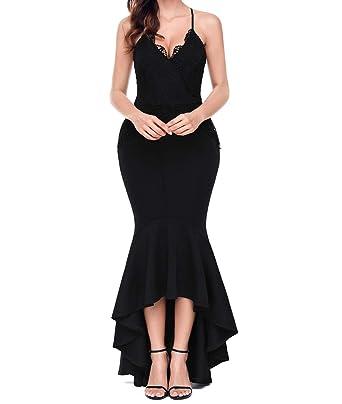 Lalagen Women s Lace Long Mermaid Evening Dress Straps Wedding Party Dresses  Black S af5ccdefc