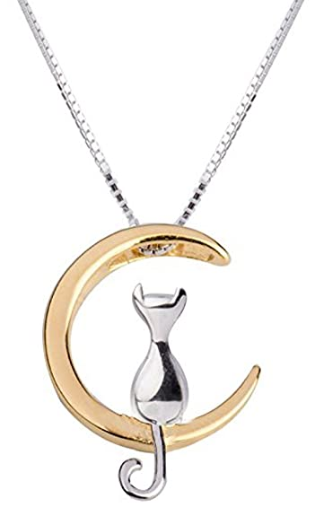 925 sterling silver cat on moon pendant necklace 40cm gold and 925 sterling silver cat on moon pendant necklace 40cm gold and silver mozeypictures Image collections