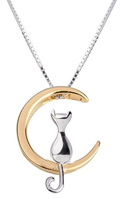 nuovo prodotto d0bbf 32a11 Ciondolo con catenina, a forma di gatto su luna, in argento Sterling 925,  40 cm