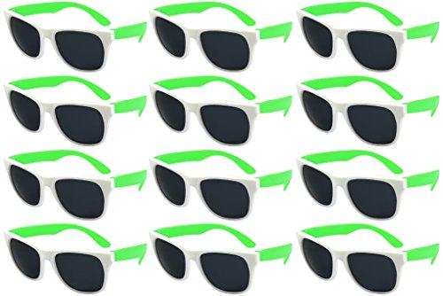 Edge I-Wear 12 Bulk 80s Party Sunglasses Neon Sunglasses for Adult Party Favors Wedding -