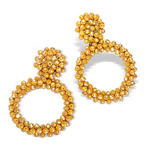 Fifata Beaded Hoop Earrings Bohemian Handmade Fringe Dangle Drop Statement Earrings for Women (Bead hoop- turquoise)