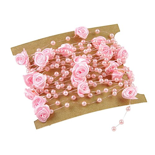 BOZLIZ - Party Decoration Pink - 5 Meters Fishing Line Artificial Pearls Flower Beads Chain Garland Flowers Wedding Party Decoration - Pins Wedding Sash Headpieces Belt Stickers Band Invitations Pl