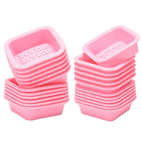 Adeeing 24-Pack 100% Food Grade Handmade Square Soaps Moulds Reusable Silicone Soap Mold / Baking Mold / Cupcake Liners Pink DIY