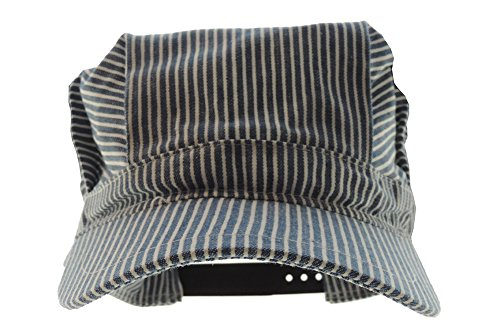 Adult's Adjustable Blue and White Striped Railroad Engineer Train Conductor Hat ()