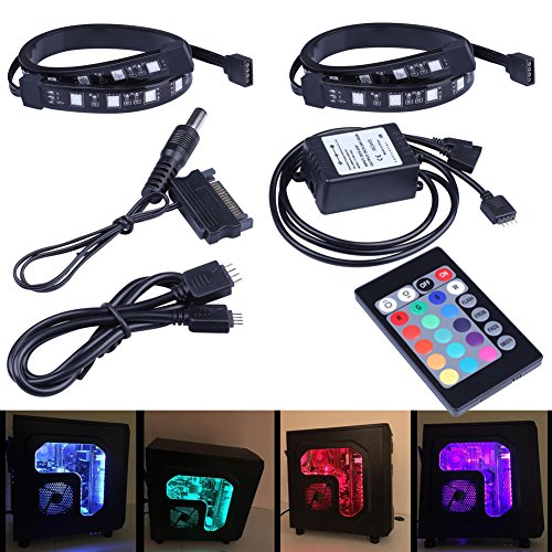 LEDdess-Full-Kit-RGB-LED-Strip-Computer-Lighting-via-Magnet-with-24-key-Remote-Controller-for-Desktop-Computer-Case-Mid-Tower-Full-Tower-5050-SMD-2pcs-18leds-30cm-R-Series