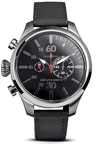 Chotovelli Aviator Pilot Watch- Sapphire Crystal,Chronograph, Italian Leather Wrist Band 5200.13