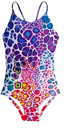 (AIDEAONE One Piece Swimsuit for 7-8T Girls Leopard Jumpsuit Sling Swimwear Novelty Bathing)