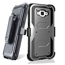 Grand prime Case,Galaxy G530 Case,LUOLNH Heavy Duty Shockproof Durable Full Body Protection Rigged Hybrid Case with belt clip holster and Kickstand for Samsung Grand Prime G530H/G5308W(Gray)