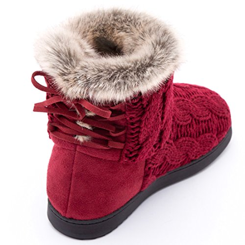 Memory Shoes Suede Adjustable Slippers Women's Bootie Foam Indoor Red Yarn w Cable amp; Soft Lace Outdoor Knit wPqHY