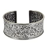 NOVICA .950 Silver Handmade Cuff Bracelet with Floral Motif, 6.25″, 'Renewal'