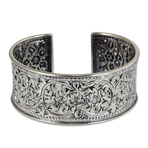 NOVICA .950 Silver Handmade Cuff Bracelet with Floral Motif, 6.25'', 'Renewal' by NOVICA