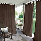 Cololeaf Indoor/Outdoor Tab Top Curtain Waterproof For Patio| Porch| Gazebo| Pergola | Cabana | dock| beach home - Chocolate 84W x 102L Inch (1 Panel)
