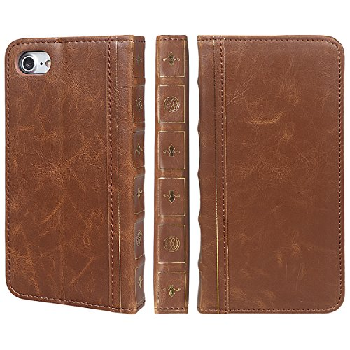 xhorizon SR Premium Leather Wallet Book Case Credit Card Holder Old-looking Antique Style Vintage Book Style Wallet Flip Slim Case for iPhone 7/ iPhone 8