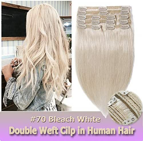 Clip in Human Hair Extensions Bleach White 14 Inch Double Weft Thick 8pcs 18 clips on 8A Grade Soft Straight 100% Remy Hair (#70,14