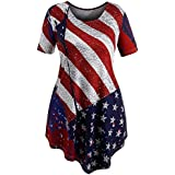 POTO Women's Blouse Tops Plus Size Summer Short Sleeve Flag Print Irregular Swing Tops T-Shirt Blouses