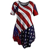 Mysky Women Clearance, Fashion Women American Flag Print Lace Insert O-Neck Tank Tops Shirt Blouse (Red, XXL)