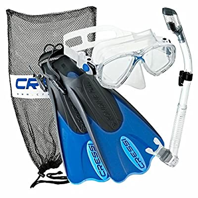 Cressi Palau Mask Fin Snorkel Set with Snorkeling Gear Bag, Designed and Manufactured in Italy
