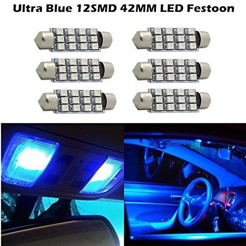 Partsam For 2008-2011 Gmc Yukon Yukon Xl 1500 6) 2000K Blue 42MM 3528 Festoon Dome Map Interior LED Canbus Light bulb 211-2