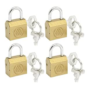 4 Pcs Gold Tone Cabinet Jewlery Box Drawer Safety Brass Padlock Keys Set