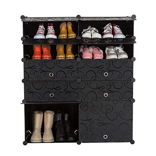 - UNICOO - Multi Use DIY Plastic 10 Cube Shoe Rack,Organizer, Bookcase, Shoes Cabinet (2×5 Black with Black Doors)