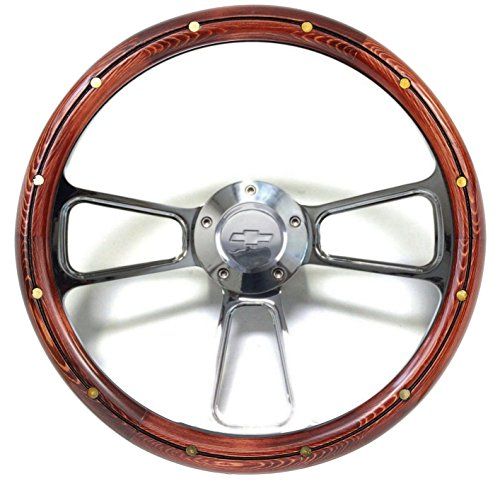 Chevy Truck Tilt Steering Column - 1974 - 1994 Chevy Cheyenne, Scottsdale, Silverado Wood Steering Wheel Full Kit