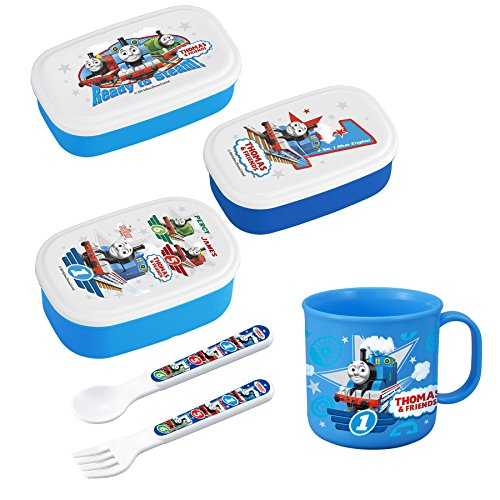- Bundled Set of 4 Thomas and Friends Lunch Products - Lunch (Bento) Box (Three Sizes), Cup, Spoon and Fork (Japan Import)