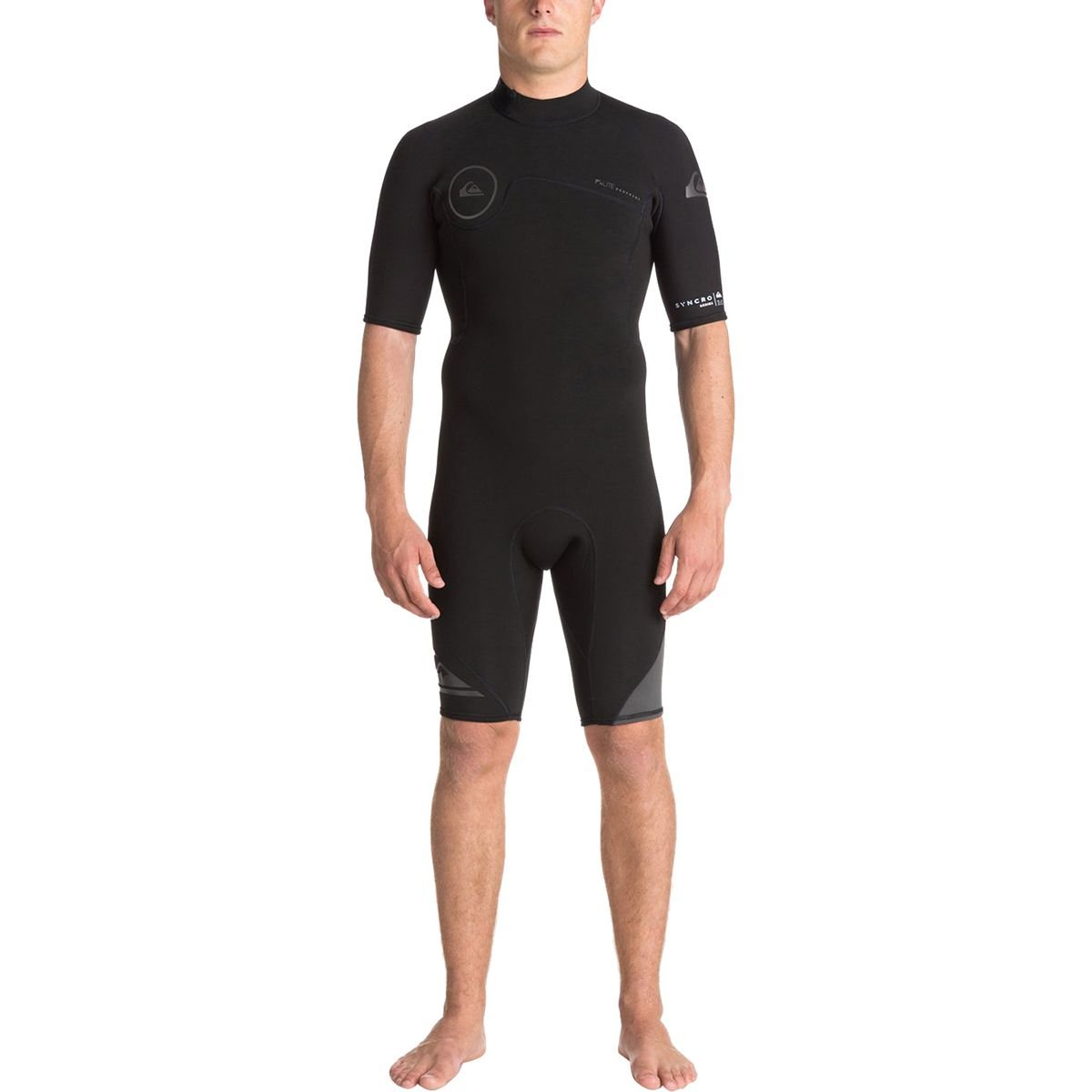 Quiksilver 2mm Syncro Back Zip FLT Men's Shorty Wetsuits - Black/Black/Jet Black/Medium by Quiksilver