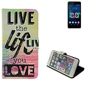 360° Funda Smartphone para Wiko Fever 4G, 'live the life you love' | Wallet case flip cover caja bolsa Caso Monedero BookStyle - K-S-Trade