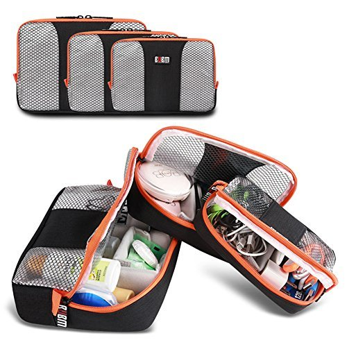 Fesoul 3 Pcs Electronics Travel Organizer Carrying Makeup Bag Set Waterproof Travel Office Gear Organizer for Camera, Phone, Ipad, Charger, Cable, External Hard Drive and Accessories (Orange)