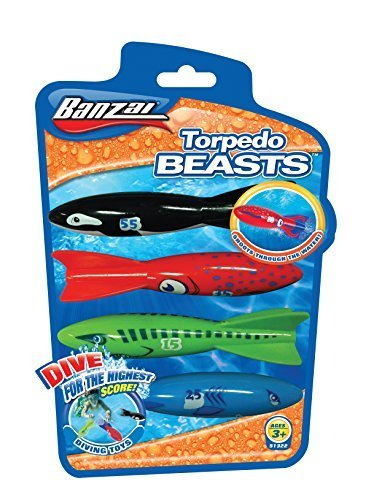 Bansai Torpedo Beasts Pool Dive Toy - Red/Black/Blue/Green by Bansai