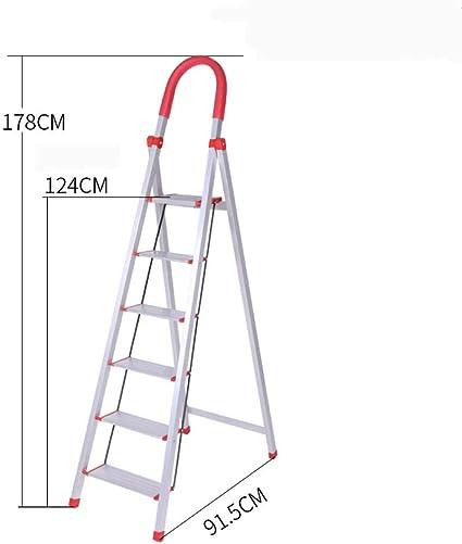 N/A Escalera Doméstica de Aleación de Aluminio, Escalera Gruesa de Cuatro O Cinco Escalones, Escalera Mecánica Plegable, Escaleras, Escalera Interior Multifunción,6,Un tamaño: Amazon.es: Deportes y aire libre