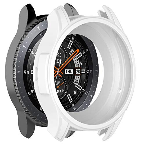 OUBAO TPU Case Thin Cover Protect Colorful Shell for Gear S3 Frontier/Gal axy watch46 Youth Watch Screen Protector Case Full 360 Protection Gel Bumper Cover (White) by OUBAO (Image #1)