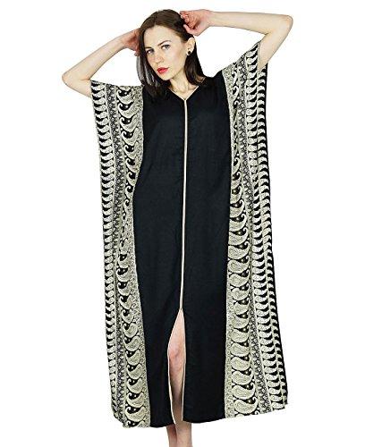 (Bimba Women Rayon Long Kaftan Black Caftan Maxi Gown Coverup Top)