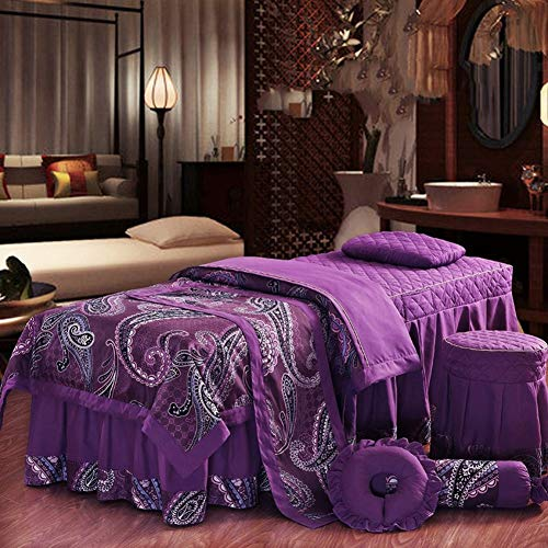 YXLJYH Luxury Court Massage Table Sheet Sets Beauty Bed Cover,Non-Slip Breathable Salon Couch Massage Bed Skirt Sheet Bedspreads -D 190x70cm(75x28inch)