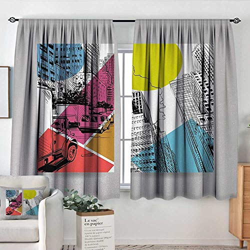 Curtain Panels,Set of 2 City,Urban Illustration with Comic Strip Design Trucks and Van Architecture Modern Times,Multicolor,Modern Farmhouse Country Curtains 63