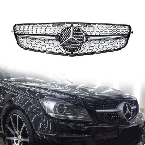 Vakabva Mercedes Benz Grill Diamond Black Grille Front Bumper Grill for 2008-2013 Mercedes Benz C Class C200 C250 C300 C350 W204