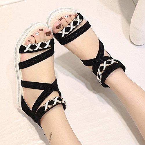 Minetom Damen Sommer Fache Schuhe Freizeit Aus Leder Sandalen Flache Sandals Offene Zehen Klassische Sommerschuhe Schwarz