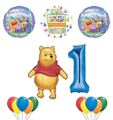 Winnie the Pooh and Friends 1st Birthday Party Supplies and Balloon Bouquet Decorations]()