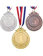 TOYANDONA 3PCS Metal Winner Gold Silver Award Medals with Neck Ribbon, Olympic Style
