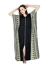 Bimba Women Rayon Long Kaftan Black Caftan Maxi Gown Coverup Top