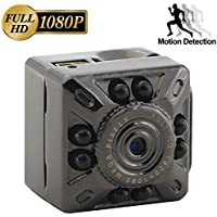 CAMXSW The smallest HD 1080P Camera Portable Mini Hidden Spy Camera Indoor/Outdoor Sport Portable Mini DV Video Recorder with 8 Infrared/IR Night Vision,Video,Record,Take Photos with Motion Detecting