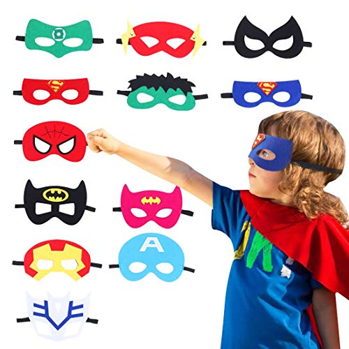 CANSHOW Superhero Masks - Soft and Comfortable with Elastic Rope, Great for Birthday Party Cosplay Accessory Gifts (12 Pack) … ()