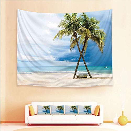 iPrint 1pcs Hanging Tapestry and 4pcs Pillow case,Wall Hanging Blanket Beach Towels Picnic Mat Home Decor,Boat in The Sea Palm Trees Sandy Beach Thailand,3D Printed Tapestry for Bedroom Living Room