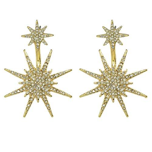 Women Pierced Drop Earrings Double Star Crystal Rhinestone (Gold Double Star)