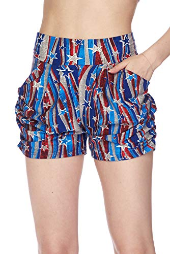 (Bellarize Women's Premium Ultra Soft Harem Shorts with Pockets - Multiple Styles (USA Vintage Stars and Stripes, Large/X-Large))