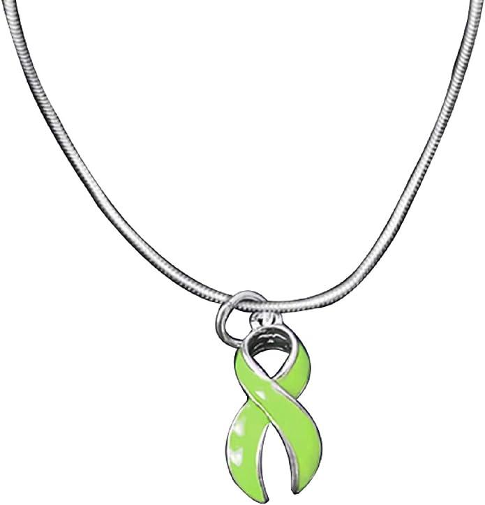 RE-C-29-9LD 1 Charm - Retail Lyme Disease Lime Green Ribbon Charm